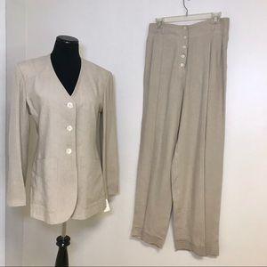 NWT Vanessa Bruno Beige  Linen Pantsuit 42 40 10 8